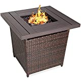 Best Choice Products 28in Fire Pit Table 50,000 BTU Outdoor Wicker Patio Propane Gas w/Faux Wood Tabletop, Glass Beads, Cover, Hideaway Tank Holder, Lid – Brown