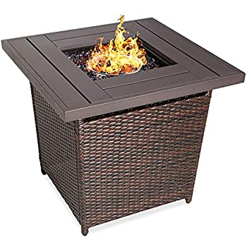Best Choice Products 28in Fire Pit Table 50,000 BTU Outdoor Wicker Patio Propane Gas w/Faux Wood Tabletop Glass Beads Cover Hideaway Tank Holder Lid – Brown