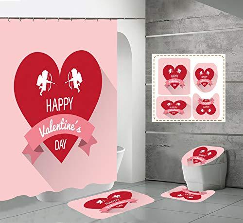 xingyundeshoop Cortina De Ducha-Decoración del Día De San Valentín Engrosada Impermeable Y A Prueba De Moho Baño Hotel Poliéster Tela-Baño De Cuatro Piezas 180 (Ancho) X180 (Alto) Cm