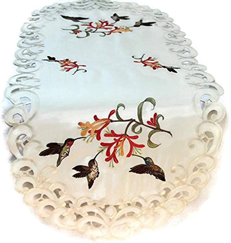 Doily Boutique Table Runner Embroidered With Hummingbirds On Ivory Fabric Size 44 X 15 Inches
