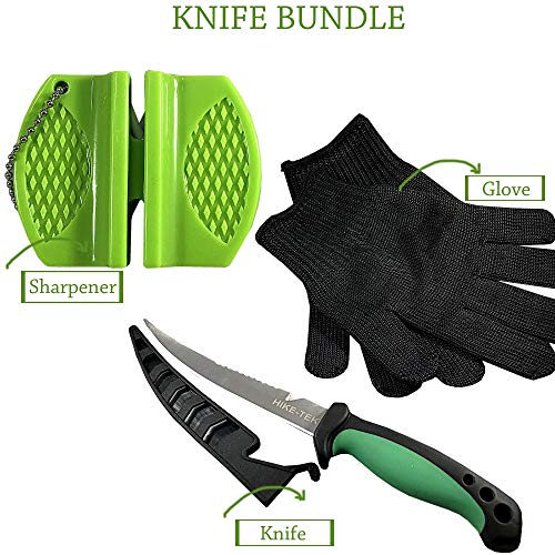 Hike-Tek Premium 6.5 Inch Fillet Knife with Sharpener and Anti-Cut Gloves Included. Portable Stainless Steel Blade- Best Gift Idea (Green)