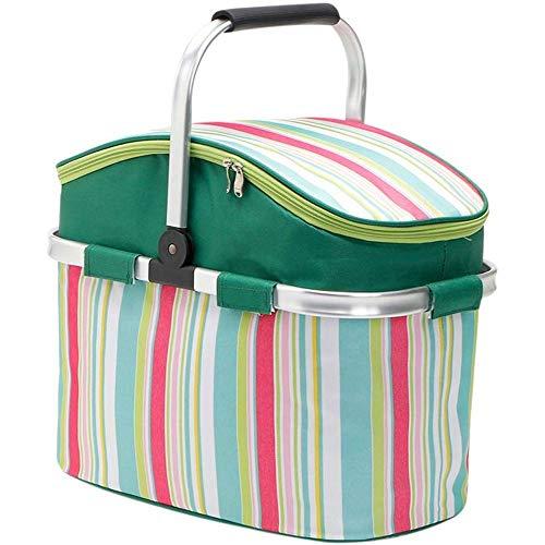 YHLZ La cesta del almacenaje, cesta de picnic - al aire libre Aislamiento cesta de picnic impermeable de tela Oxford cesta del almacenaje plegable de gran capacidad carrito (42x23x27cm) Feliz Cumpleañ