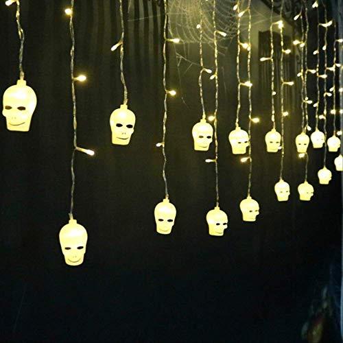 No Brand lichtsnoer, 3,5 m, 96 LED's, schedels en boten, gekruist, feen, LED-gordijn, lichtsnoeren, interieurdecoratie, Kerstmis, 110 V, zonder plug, warm wit