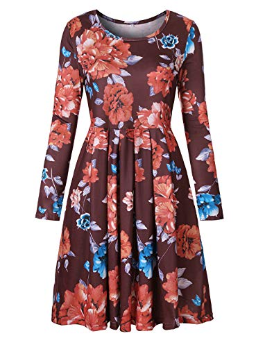 Luranee A-line Dresses for Women, Casual Hawaiian Dress Long Sleeve Ladies Zulily Dressy Clothing Scoop Neck High Waist Loose Draped Stretchy Colorful Business Burgundy Outfits Coffe Wine XXL