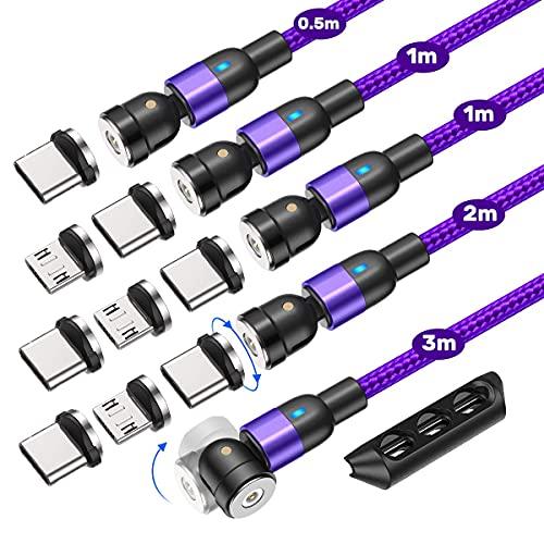 AUFU Magnetisches Ladekabel, 5 Stück [0.5m 1m 1m 2m 3m], Magnet USB-Kabel 360°+180° Rotierendes Magnetisches Datenkabel für Micro USB/Typ C/Smartphone - Purple