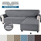 H.VERSAILTEX Sofa Covers L Shape Couch Covers for Sectional Sofa Chaise Lounge Sofa Cover Slipcovers Furniture Protector for Dogs Pets, Non Slip with Straps (Large, Reversible Grey/Grey)