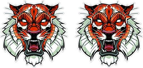 Shopping-World-Thailand Tiger Kopf Aufkleber 10cm Art Auto Oldschool Tottoo Sticker/Plus Schlüsselringanhänger aus Kokosnuss-Schale/Auto Motorrad Helm Laptop Windows Hund Tiere Katze Wolf Tiger Löwe