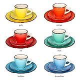 MamboCat 18-teiliges Kaffee-Service Colour Power Capri I buntes Kaffee-Geschirr-Set für 6 Personen I Steingut-Geschirr mit je 6X Tassen - Unterteller - Kuchenteller I Kaffeeservice bunt 18 Teile - 3