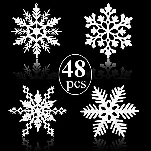 Gudotra 48pz Fiocchi di Neve Decorazioni Natalizie per Albero di Natale Finestre Muro Porta Tocco Natale (Bianco, 48pz)