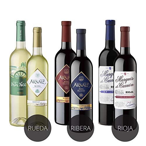 Estuche de D.O 3 Erres Surtido de 6 Vinos con D.O Rueda, D.O Ribera del Duero y D.O Rioja - Pack de 6 Botellas x 750 ml