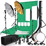 Photography Photo Studio Softbox Lighting Kit with 2.6x3M Background Frame 3pcs Backdrops Tripod Stand Reflector Board 4Umbrella …