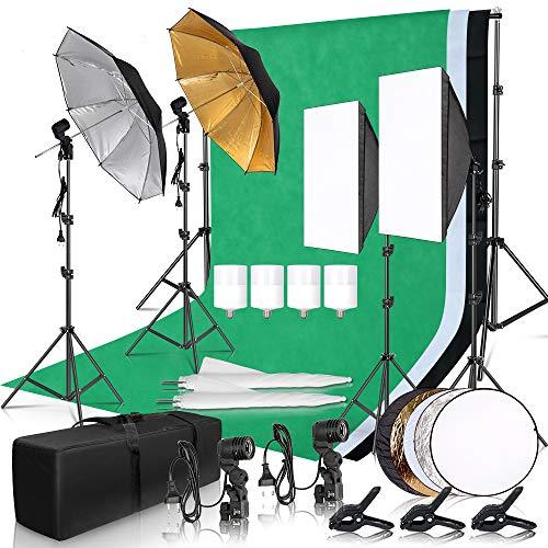 Photography Photo Studio Softbox Lighting Kit with 2.6x3M Background Frame 3pcs Backdrops Tripod Stand Reflector Board 4Umbrella …