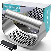 Garlic Press Rocker, Stainless Steel Garlic Crusher Garlic Mincer Presses and Ginger Press Squeezer with Silicone Tube...