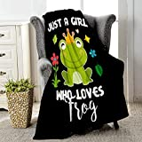 Jikokuten Just A Girl Who Loves Frogs Super Soft Flannel Blanket Lightweight Comfortable Luxury Throw Warm Queen Plush Cozy Twin Bed Sofa Office Camping (Just A Girl Who Loves Frogs Green, Small)
