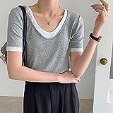 LYHMHZ Versión Coreana De La Camiseta De Manga Corta Fake De Dos Piezas Femenina 2021 Verano Nuevo Cuello En U Cuello De U Clavícula Moda All-Match Compassionate (Color : Grey, Size : One Size)