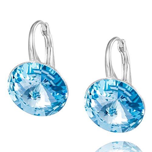 LillyMarie Damen Ohrringe Echt Silber Hell-blau Swarovski Elements Rund Geschenkverpackung Kleine Geschenke für Frauen