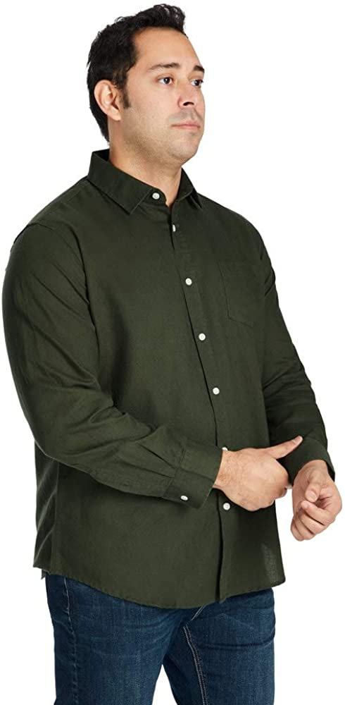 Johnny Bigg Mens Anders Linen Blend Button Down Chest Pocket Spread Relaxed Fit Collared Shirt Navy