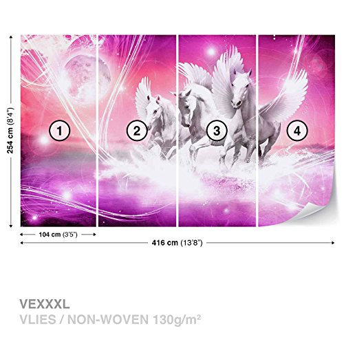 FORWALL Vlies Fototapete Tapete Vliestapete Dekoshop Pegasus auf rosa Hintergrund AD589VEXXXL (416cm x 254cm) Photo Wallpaper Mural