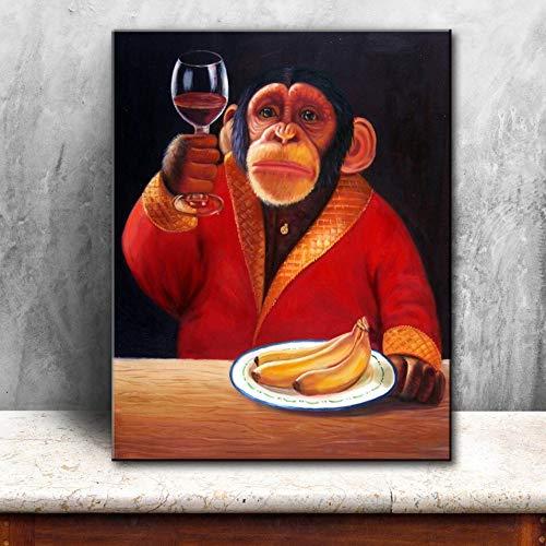wZUN Pintura al óleo de Mono Lienzo Impreso hogar Pintura al óleo Abstracta Lienzo Grabado Mural Pintura Decorativa 60x80 Sin Marco