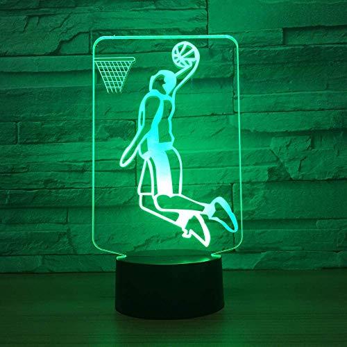 Luz de ilusión LED 3D, luz nocturna, baloncesto, mesita de noche óptica, luz nocturna, luz para niños, luz para dormir, botón táctil que cambia de color de 7 colores, cable USB, luz decorativa