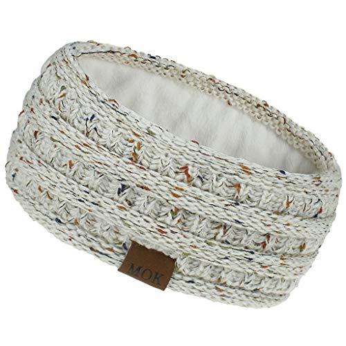 FORH--G-String Stirnband Damen gestricktes Haarband Mädchen Ohrenwärmer mit Zopfmuster, gefüttert mit weichem Fleece Innenfutter (A50)