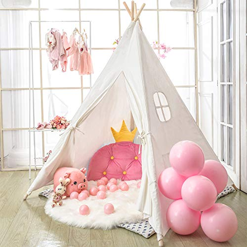 wilwolfer Teepee Tent for Kids Foldable Children Play Tents for Girl and Boy with Carry Case Canvas Playhouse Toys for Girls or Child Indoor and Outdoor (White)