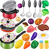 Geyiie Cooking Pretend Play Toy Kitchen Cookware Playset Including Pots and Pans, Play Food,Cooking Utensils, Kids Kitchen Set for Girls Boys Ages 2 3 4 5 6 7 Years Old