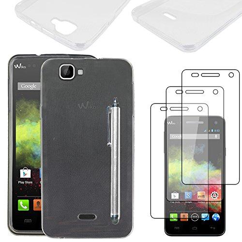 ebestStar - kompatibel mit Wiko Rainbow Hülle Rainbow 4G Handyhülle [Ultra Dünn], Durchsichtige TPU Schutzhülle, Soft Flex Silikon +Stift +3 Schutzfolies, Transparent [Phone: 146x74x10mm 5.0