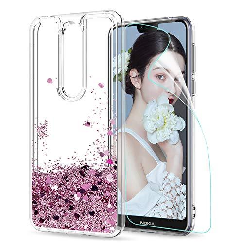 LeYi Hülle Nokia 7.1 Glitzer Handyhülle mit HD Folie Schutzfolie,Cover TPU Bumper Silikon Flüssigkeit Treibsand Clear Schutzhülle für Hülle Nokia 7.1 Handy Hüllen ZX Rot Rosegold