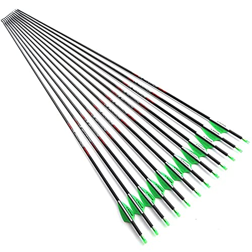 28.5 Inch Arrow 1800 Spine Arrow Target Practice Arrow Hunting Arrow Carbon Arrows Compound Bow Recurve Bow Adult Youth Archery Indoor Outdoor Shooting Bullet Tip 12pc Green