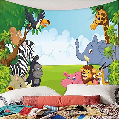 Weibing Tapiz de impresión en Color 3D Estilo Moderno Dibujos Animados Animal León Elefante y Otros Patrones decoración del hogar tapices Arte de Pared para Habitaciones 300(An) x260(H) cm