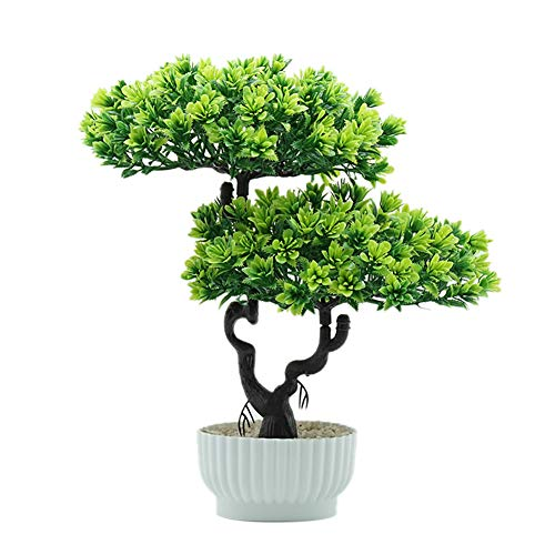 Wenyun Macetero artificial mini de imitación de pino de esmeralda, simulación de plantas, decoración de boda, mesa de oficina, regalo del día de la madre, color verde