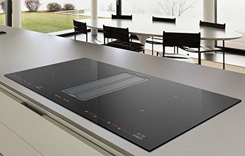 Campana extractora de mesa prémium + juego de recirculación con placa de inducción FLEX / 9 niveles de potencia + Booster (Powerstufe)/ Kompak One IX-Black 820/86 cm / 100% fabricado en Italia