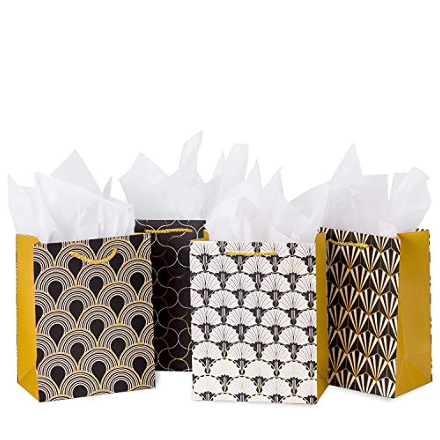 Loveinside Small Black Gift Bags - 4pcs Black and Gold Design Shopping Bags with Tissue Paper for Holiday Gift Wrap - 7