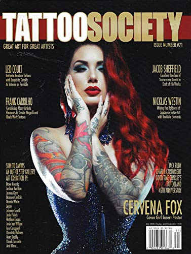 TATTOO SOCIETY Magazine (July, 2020) Issue 71 CERVENA FOX Cover Girl with Poster