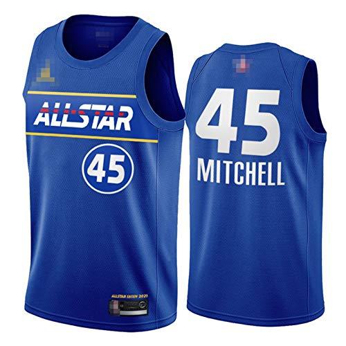 YDYL-LI 2021 Nueva camiseta de baloncesto All-Star Uniforme Chalecos # 45 Donovan Mitchell Training Jerseys Top para hombre adolescentes, transpirable y cómodo, M
