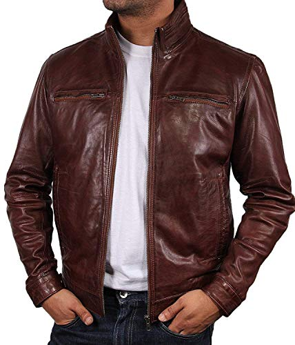 BRANDSLOCK Men Leather Jacket in Harrington Style, Brown with Lamb Nappa Leather (XL - (für die Brust: 44-45