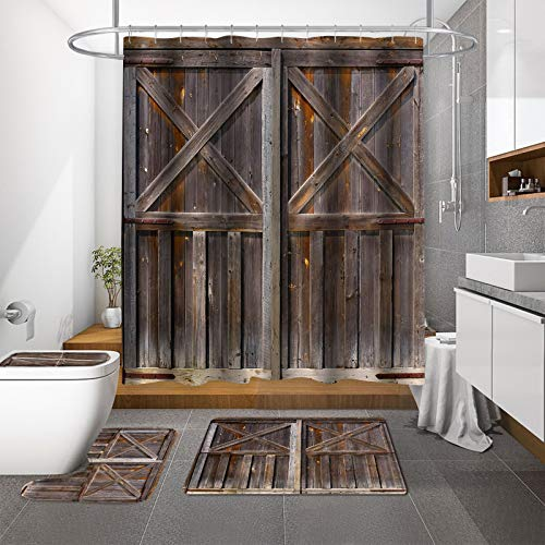 MitoVilla Farmhouse Barn Door Shower Curtain Set with Rustic Rugs, Vintage Brown Wooden Bathroom Decor Sets Accessories and Shower Curtain, Retro Western Country Bathroom Curtain Sets with Bath Mat