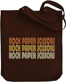 Teeburon Rock Paper Scissors RETRO COLOR Canvas Tote Bag 10.5