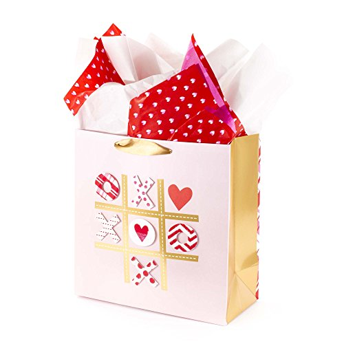 Hallmark Signature 10' Large Gift Bag with Tissue Paper - Tic Tac XOXO for Anniversary, Valentines Day, Engagements, Sweetest Day and More