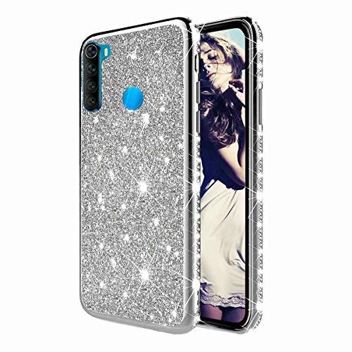 TYWZ Strass Hülle für Xiaomi Redmi Note 8,Glitzer Diamant Glanz Bling Mädchen Case Cover Ultra-Slim Stoßfeste Anti-Rutsch Silikon Schutzhülle-Silber