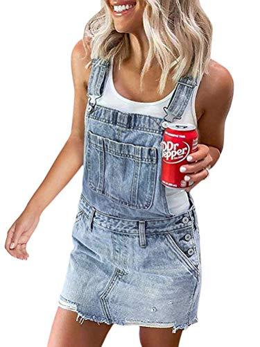Onsoyours Damen Skinny Denim-Latzhose Kleid, Mitte blau, Sizes 8 to 14 A Blau 40