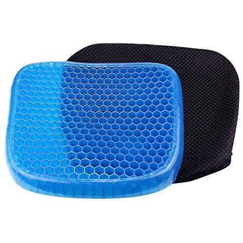Cojín de gel para asiento de oficina, transpirable, doble capa, elástico, portátil, para el coche, antideslizante, ergonómico y fresco
