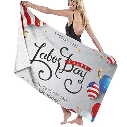 ENZOOIHUI Día del Trabajo Venta Plantilla de Banner publicitario Decoración La Toalla de baño Toalla de Playa 80X130 Cm