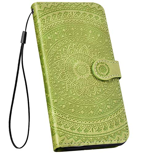 Ysimee kompatibel mit Sony Xperia L2 Hülle 3D Bookstyle PU Leder Schutzhülle Wallet Flip Ledertasche Case Handyhülle Lederhülle Handy Tasche Schale [Standfunktion] [Kartenfach], Mandala Hellgrün