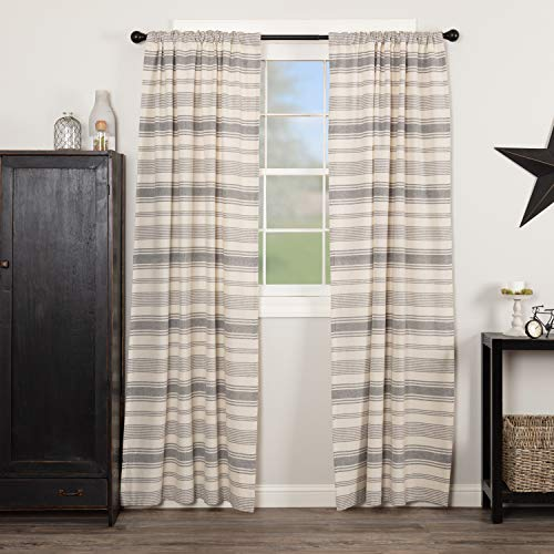"""Piper Classics Farm Market Panel Curtains, Set of 2, 84"""" Long, Urban Rustic Farmhouse Style Curtain in Natural Cream and Gray Stripes"""