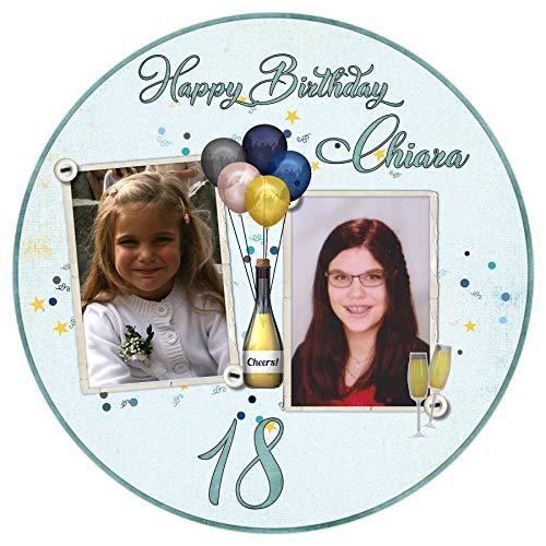 Tortenaufleger Tortenbild 18 Geburtstag Junge Mädchen essbar sofort frei gestalten den Wunschtext und Foto Ø 20cm 2024