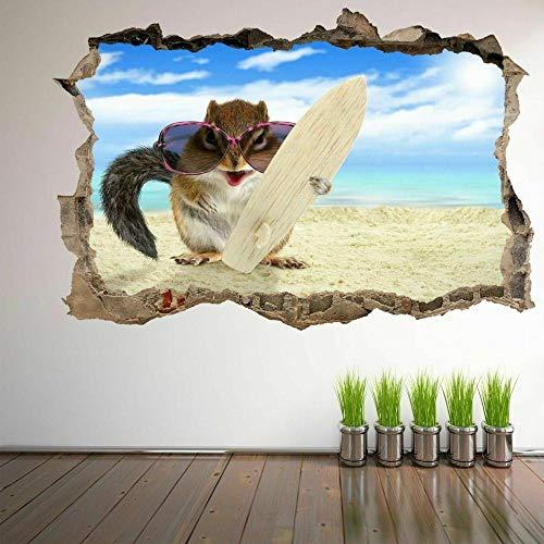 Ardilla con tabla de surf en la playa Etiqueta engomada del arte de la pared 3D Mural Calcomanía Póster Decoración de la habitación aplique 50x70cm