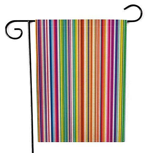 Holiday Garden Flag Arpillera para Yard Garden Flag Coloridas Rayas Resumen Antecedentes Ancho Franjas Vertical Color Line Pattern Design