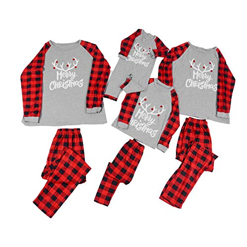 IVYSHION Family Matching Pyjamas Set Christmas Pyjamas 100% Cotton Long Sleeve T-Shirt and Long Pants Xmas Nightwear Sleepwear for Man Women Girl Boy Baby Pjs Gray